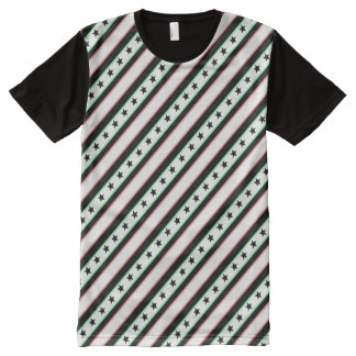 Christmas Wrapped Stars and Stripes Pattern All-Over Print T-Shirt