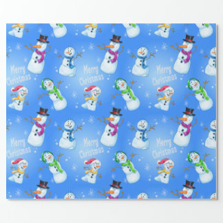 Christmas wrapping cartoon snowman wrapping paper