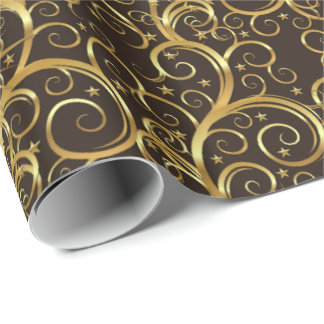 Christmas Wrapping Paper-Majesty Golden Swirls Wrapping Paper