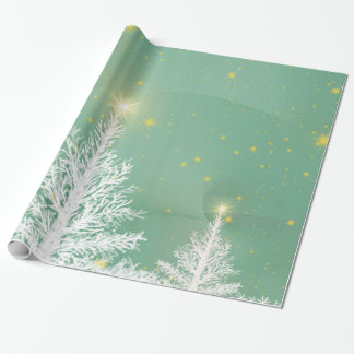 Christmas wrapping paper with white trees