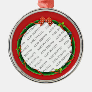 Christmas Wreath Add Your Photo & Red Background Christmas Ornament