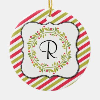 Christmas Wreath and Stripes Monogram Round Ceramic Decoration