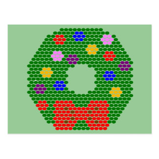 Christmas Wreath Beaded Pattern Postcard