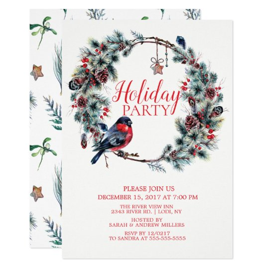 Christmas Wreath Bird Holiday Party Invitation