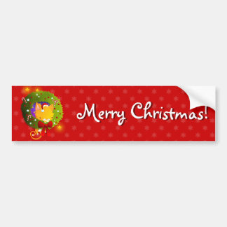 Christmas Wreath Car Bumper Sticker