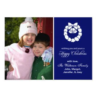 """Christmas Wreath Card (Happy Christmas Navy Blue) 5"""" X 7"""" Invitation Card"""