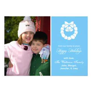 Christmas Wreath Card (Happy Holidays Sky Blue) Personalized Invitations
