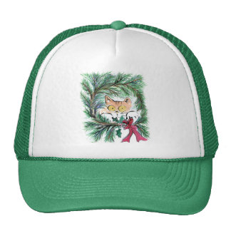 Christmas Wreath Cat Sumi-e Mesh Hat