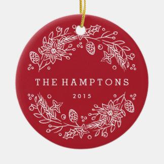 Christmas Wreath Ceramic Ornament - Berry