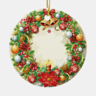 Christmas Wreath Ceramic Round Ornament