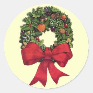 Christmas Wreath Classic Round Sticker