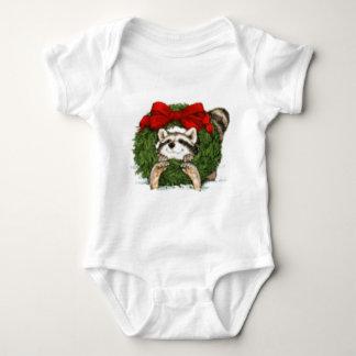 Christmas Wreath Decoration and Raccoon Baby Bodysuit