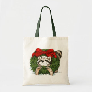 Christmas Wreath Decoration And Raccoon Tote Bags