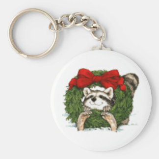 Christmas Wreath Decoration And Raccoon Key Ring