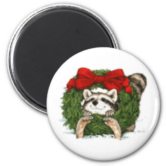 Christmas Wreath Decoration And Raccoon Magnet