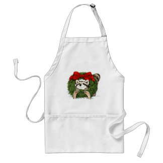 Christmas Wreath Decoration And Raccoon Standard Apron