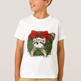 Christmas Wreath Decoration and Raccoon T-Shirt