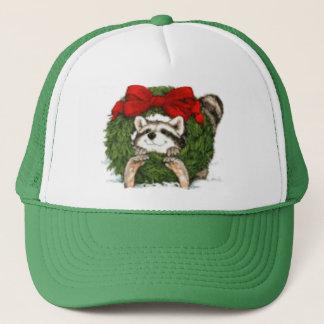 Christmas Wreath Decoration and Raccoon Trucker Hat