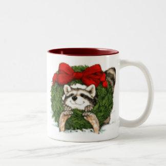 Christmas Wreath Decoration And Raccoon Two-Tone Coffee Mug