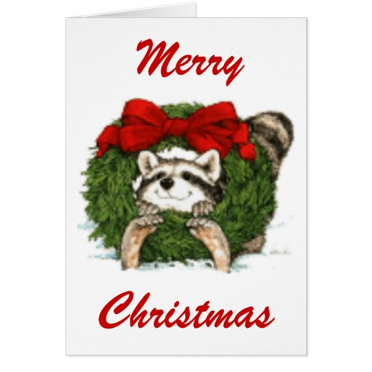 Christmas Wreath Decoration And Racoon Card