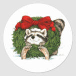 Christmas Wreath Decoration And Racoon Round Sticker