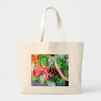 Christmas wreath decoration large tote bag