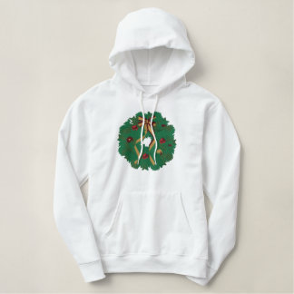 Christmas Wreath Embroidered Hoodie