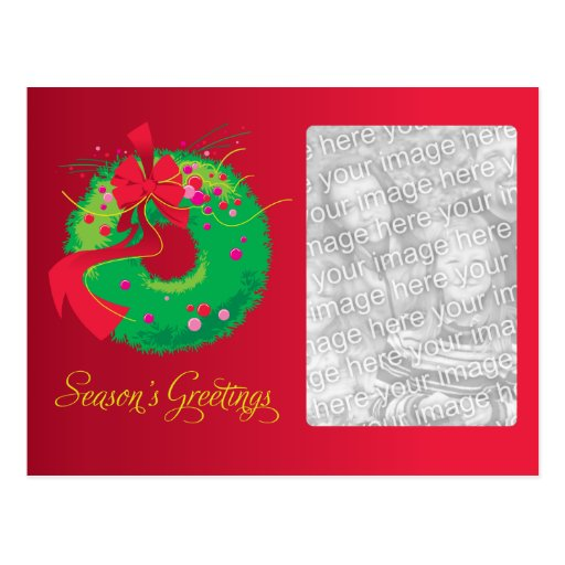 Christmas Wreath Family Photo Postcard