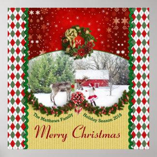 Christmas Wreath Garland Snowflakes Custom Frame Poster