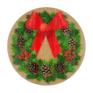 """Christmas Wreath Glass Cutting Board 12"""""""