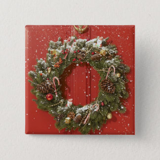 Christmas wreath hanging on a door 15 cm square badge
