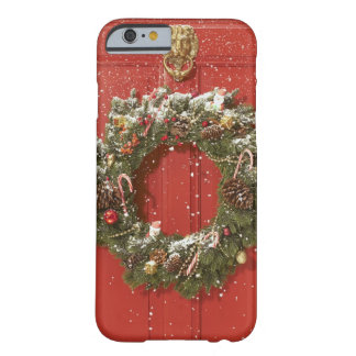 Christmas wreath hanging on a door barely there iPhone 6 case
