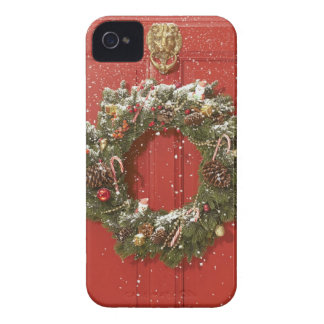 Christmas wreath hanging on a door Case-Mate iPhone 4 case