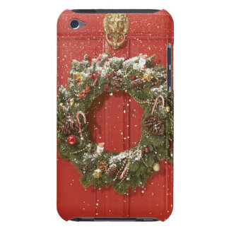 Christmas wreath hanging on a door iPod touch case