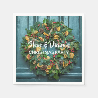 Christmas Wreath Holiday Party Paper Napkin Green