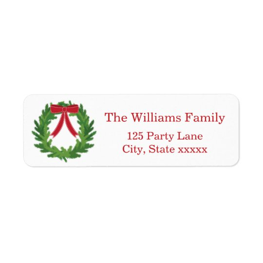 Christmas Wreath, Holiday Return Address Label