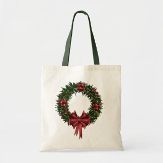 Christmas Wreath Holiday Tote Budget Tote Bag