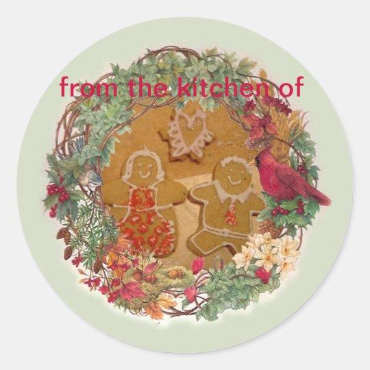 Christmas Wreath Illustrated Kitchen Label