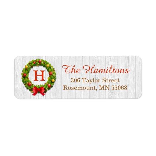 Christmas Wreath Monogram Family Holiday Blessing
