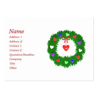 Christmas Wreath of Hearts - Chubby Business Card