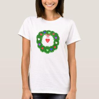 Christmas Wreath of Hearts T-Shirt