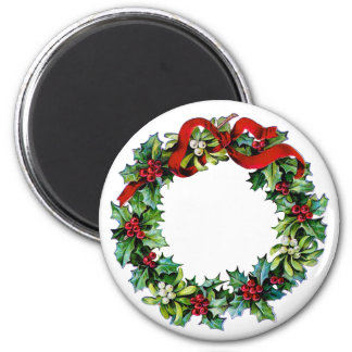 Christmas Wreath of Holly and MIstletoe Magnet