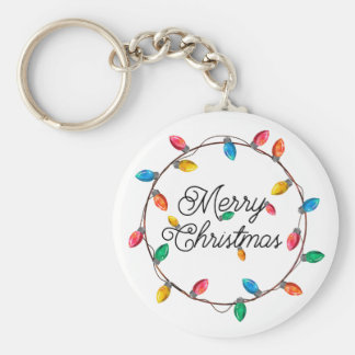 Christmas Wreath of Retro Christmas Tree Lights Basic Round Button Key Ring