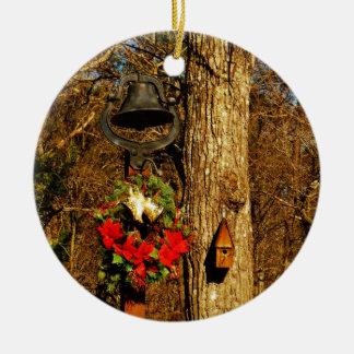 Christmas Wreath Old Bells and Birdhouse Christmas Ornament