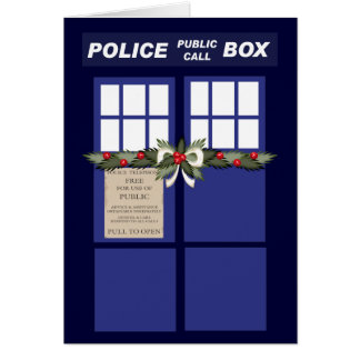 Christmas Wreath On A Police Box Card