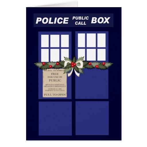 Christmas Wreath On A Police Box Cards