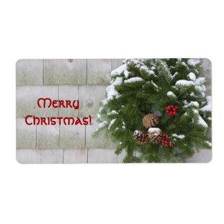 Christmas Wreath On Cedar Wall Shipping Label