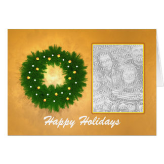 Christmas Wreath on Gold (photo frame) Greeting Card
