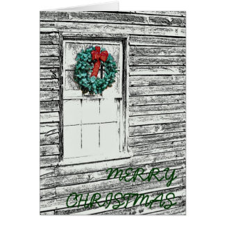 Christmas Wreath on old building sketch Greeting Card