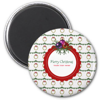 Christmas Wreath Pattern With Holly Custom Magnet